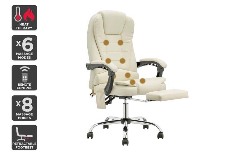 Ergolux Saratoga 8 Point Heated Vibrating Massage Office Chair (White)