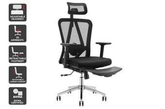 Ergolux Endurance Ergonomic Chair with Footrest (Black)