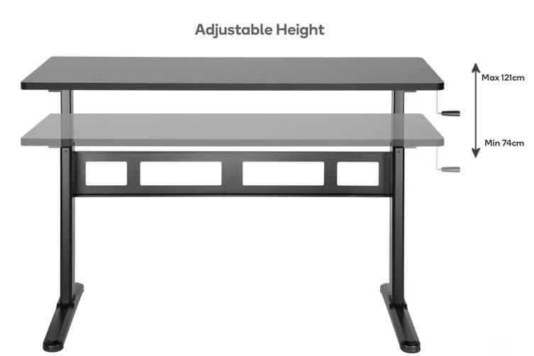 Ergolux Wind-Up Height Adjustable Sit Stand Desk (Black)