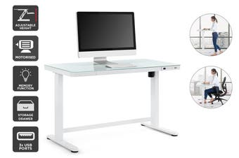 Ergolux Sorrento Electric Standing Desk (White, Wood)