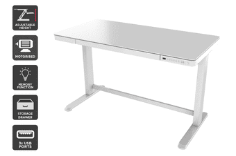 Ergolux Sorrento Electric Standing Desk (White, Glass)