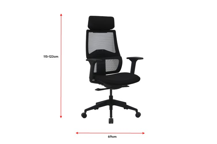 Ergolux Temax Mesh Office Chair With Head Rest