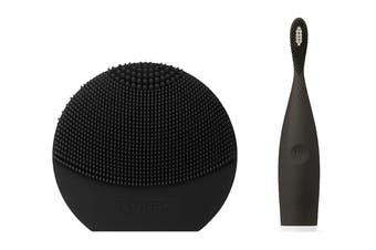 Foreo LUNA Play Plus Face Cleanser & ISSA Play Electric Sonic Waterproof Toothbrush Bundle - Black