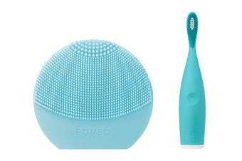 Foreo LUNA Play Plus Face Cleanser & ISSA Play Electric Sonic Waterproof Toothbrush Bundle - Turquoise