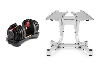Fortis 24kg Smart Adjustable Dumbbell Set and Stand Combo