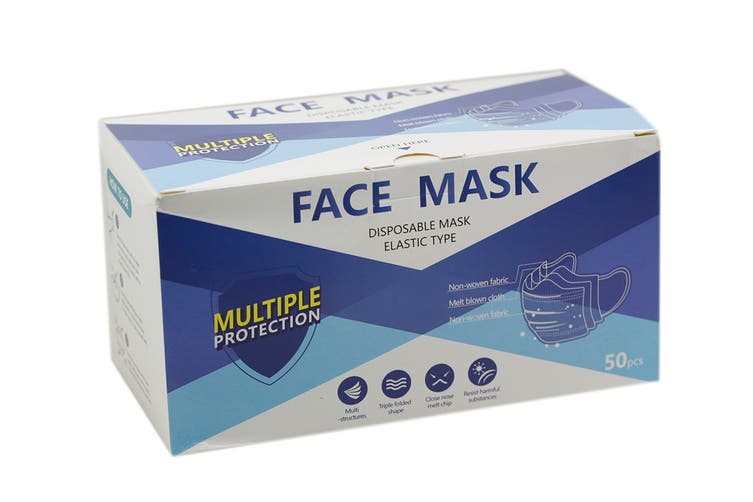Disposable 3-Ply Face Mask with Protective Mask Filter (Pack of 50)