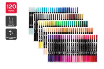 120 Piece Dual Tip Marker Set