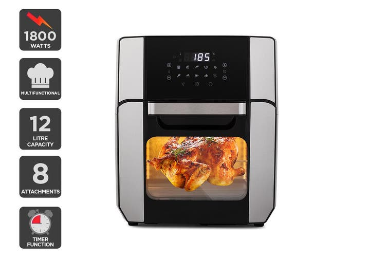 Kogan 12L 1800W Digital Air Fryer Oven (Stainless Steel)