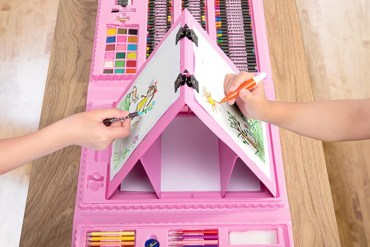 208-Piece Pop-Up Double-Sided Easel Art Set (Pink)