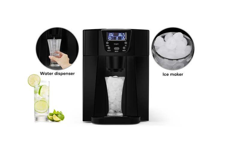 Kogan 2-in-1 Ice Cube Maker & Water Dispenser (Black)
