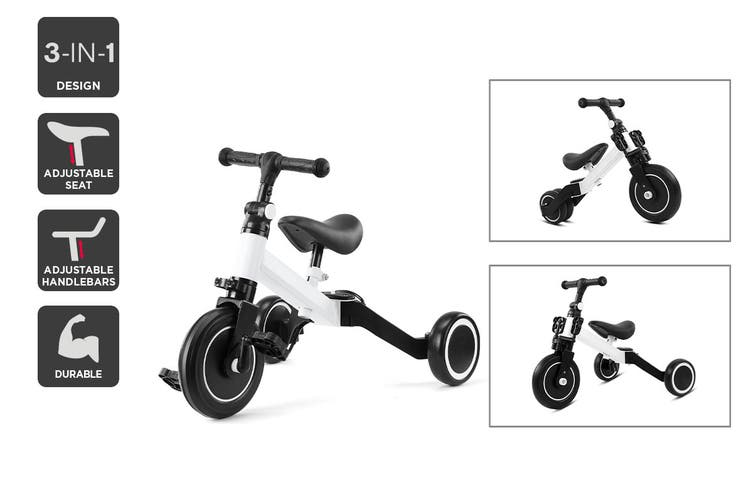 3-in-1 Trike & Balance Bike (White)