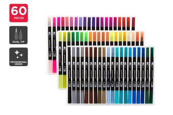 60 Piece Dual Tip Marker Set