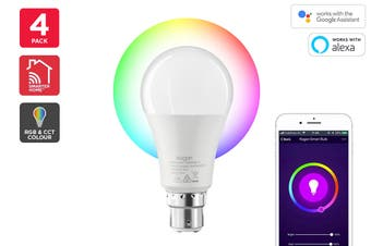 Kogan SmarterHome™ 10W RGB + CCT Colour & Warm/Cool White Smart Bulb (B22) - Pack of 4