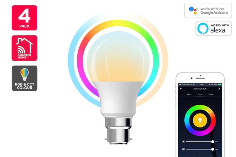 Kogan SmarterHome™ 10W RGB + CCT Colour & Warm/Cool White Smart Bulb (B22) - Pack of 4