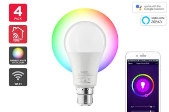 Kogan SmarterHome™ 10W Colour & Warm White Smart Bulb (B22, Wi-Fi) - Pack of 4
