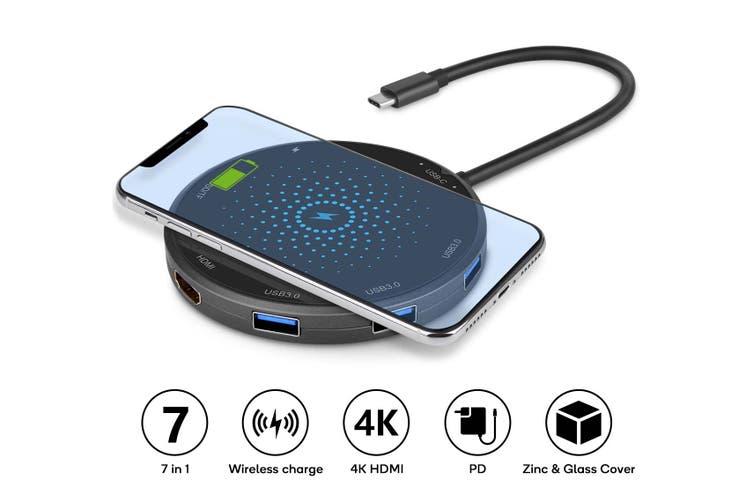 Kogan 7-in-1 USB-C Hub with Qi Wireless Charger