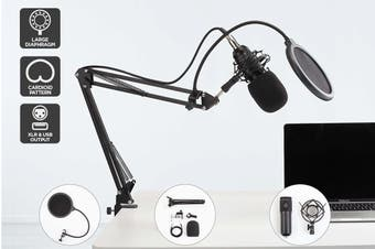 Kogan USB Condenser Microphone with Pop Filter and Stand