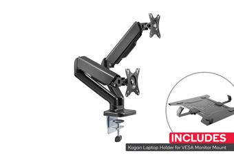 Kogan Full Motion Gas Spring Dual Monitor Mount with Laptop Holder Combo