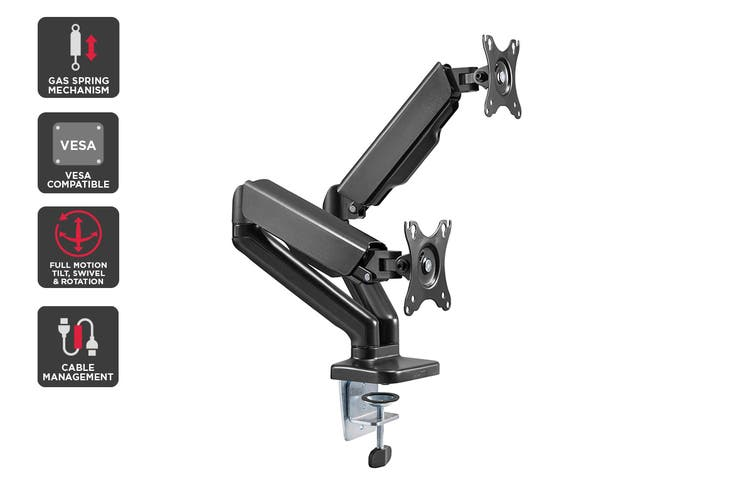 Kogan Full Motion Gas Spring Dual Monitor Mount (Ostia Series - Black)
