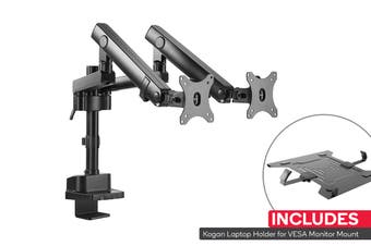 Kogan Full Motion Spring-Assisted Height Adjustable Dual Monitor Mount Pro Laptop Holder Combo