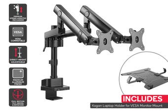 Kogan Full Motion Spring-Assisted Height Adjustable Dual Monitor Mount Pro Laptop Holder Combo