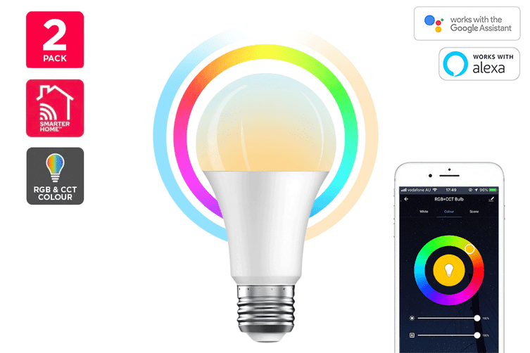 Kogan SmarterHome™ 10W Colour & Warm/Cool White Smart Bulb (E27, Wi-Fi) - Pack of 2