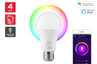 Kogan SmarterHome™ 10W RGB + CCT Colour & Warm/Cool White Smart Bulb (E27) - Pack of 4