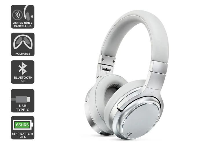 Kogan EC-65 II Pro Active Noise Cancelling Headphones (Silver Grey)