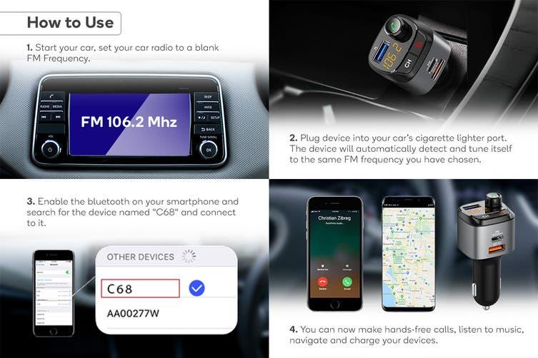 Kogan Wireless Car Bluetooth FM Transmitter with PD + QC3.0