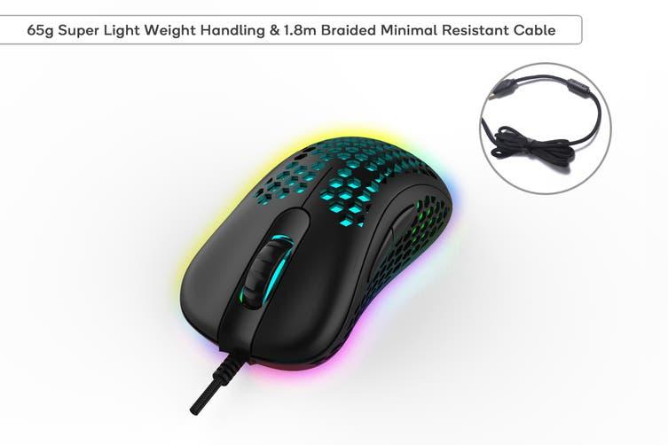 Kogan GM-AIR Ultra Lightweight RGB 6400dpi Gaming Mouse (Black)