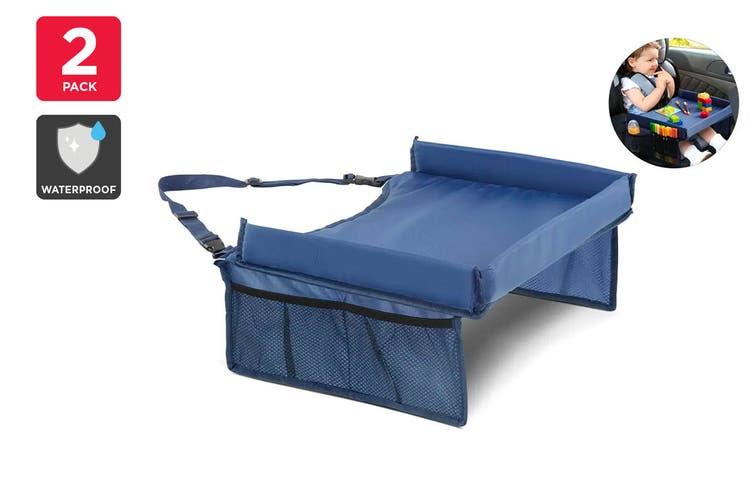 Kogan Kids Car Travel Eat and Play Activity Lap Tray (Navy) - 2 Pack