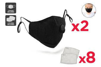 Kids Black Washable & Reusable PM2.5 Face Mask With Respirator (2 Mask + 8 Filters)