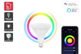 Kogan SmarterHome™ 13W RGB + CCT Colour & Warm/Cool White Outdoor Smart Bulb (B22)