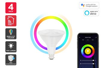 Kogan SmarterHome™ 13W RGB + CCT Colour & Warm/Cool White Outdoor Smart Bulb (B22) - Pack of 4