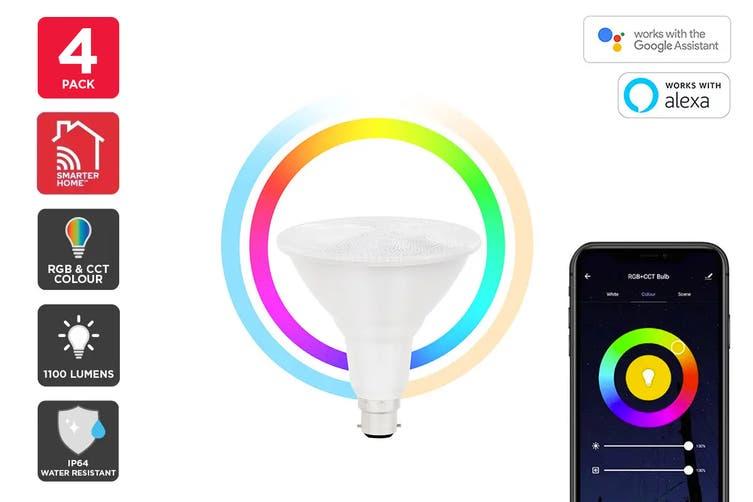 Kogan SmarterHome™ 13W RGB + CCT Colour & Warm/Cool White Outdoor Smart Bulb (B22) - Pack of 4