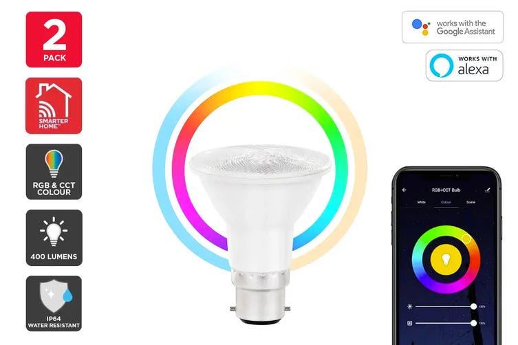 Kogan SmarterHome™ 6.5W RGB + CCT Colour & Warm/Cool White Outdoor Smart Bulb (B22) - Pack of 2