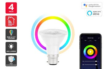 Kogan SmarterHome™ 6.5W RGB + CCT Colour & Warm/Cool White Outdoor Smart Bulb (B22) - Pack of 4