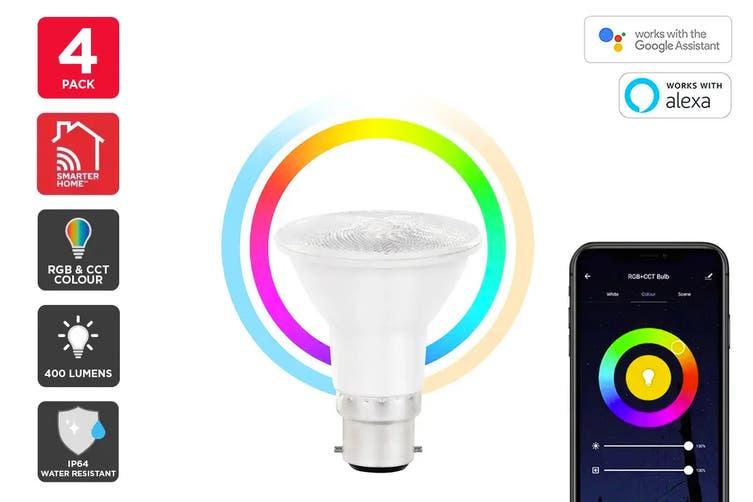 Kogan SmarterHome™ 6.5W RGB + CCT Colour & Warm/Cool White Outdoor Smart Bulb (B22) - Pack of 4