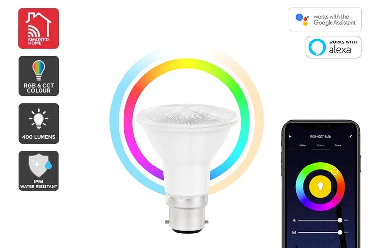 Kogan SmarterHome™ 6.5W RGB + CCT Colour & Warm/Cool White Outdoor Smart Bulb (B22)