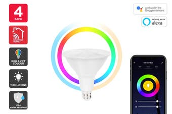 Kogan SmarterHome™ 13W RGB + CCT Colour & Warm/Cool White Outdoor Smart Bulb (E27) - 4 Pack