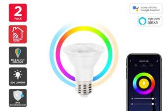 Kogan SmarterHome™ 6.5W RGB + CCT Colour & Warm/Cool White Outdoor Smart Bulb (E27) - 2 Pack