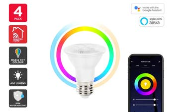 Kogan SmarterHome™ 6.5W RGB + CCT Colour & Warm/Cool White Outdoor Smart Bulb (E27) - 4 Pack