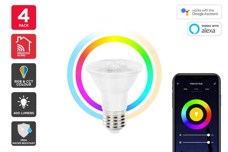 Kogan SmarterHome™ 6.5W RGB + CCT Colour & Warm/Cool White Outdoor Smart Bulb (E27) - 4 Pack
