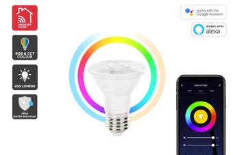 Kogan SmarterHome™ 6.5W RGB + CCT Colour & Warm/Cool White Outdoor Smart Bulb (E27)