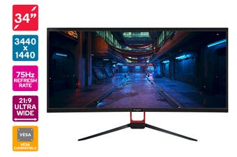 "Kogan 34"" WQHD 21:9 Ultrawide 75Hz Monitor (3440 x 1440)"