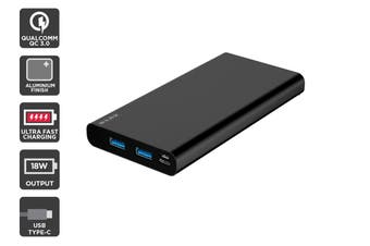 Kogan 10,000mAh 18W PD Power Bank (Black Aluminium)