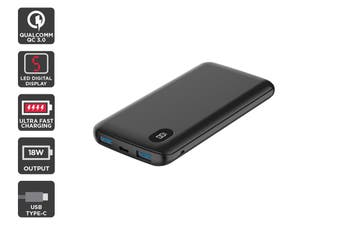 Kogan 10,000mAh 18W Power Bank with LED display (Black)