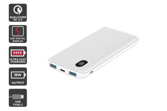 Kogan 10,000mAh 18W Power Bank with LED display (White)