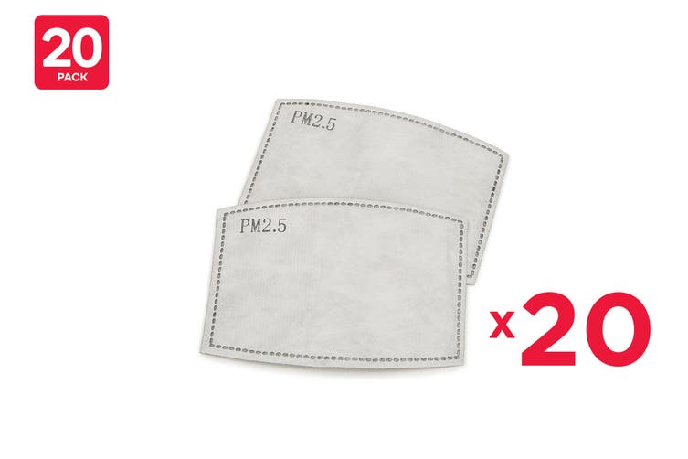 Kids Replacement Filters for Washable & Reusable PM2.5 Face Mask (Pack of 20)