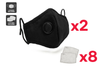 Washable & Reusable PM2.5 Face Mask With Respirator (2 Masks + 8 Filters)